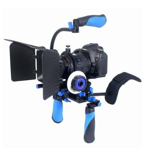 eimo Filmvorrichtung für DSLR-Kameras und Camcorder, Schultervorrichtung mit Follow Focus, Matte Box / Kompendium und Griff oben