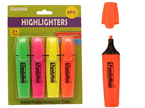 4PC Highlighters Yellow, Pink, Orange, Green , Case of 96 by DollarItemDirect (Image #1)