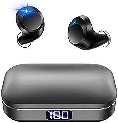 【最新 Bluetooth5.0 LED显示器】 蓝牙耳机 Hi-Fi 高音质 无线 耳机 IPX7完全防水 3D立体声耳机 CVC8.0降噪 AAC/SBC对应 日语音声 蓝牙 耳机 自动对戒 自动电源 ON/OFF 双耳通话 左右分离式...
