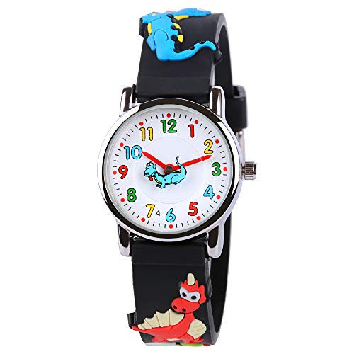 Venhoo Kids Watches Cute 3D Cartoon Waterproof Silicone Children Toddler Wrist Watch Time Teacher Birthday Gift 3-10 Year Boys Girls Little Child-Black Dinosaur