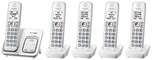 Panasonic KX-TGD533W plus two KX-TGDA51W handset Cordless Phone with Answering Machine - 5 Handsets (Certified Refurbished) ( KX-TGD532W + 3 )