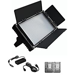 ILED-576 576 Daylight LED Video Light Panel with V-Mount Plate and LCD Touch Screen + Battery Converter Adapter