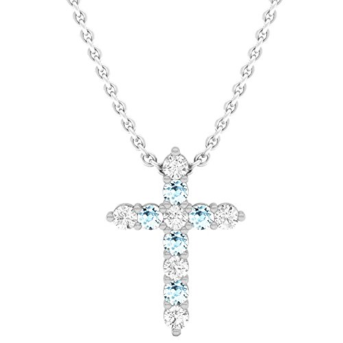 Dazzlingrock Collection 18K Round Aquamarine & White Diamond Ladies Cross Pendant, White Gold