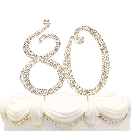 Hatcher lee Bling Crystal 80 Birthday Cake Topper - Best Keepsake | 80th Party Decorations Gold