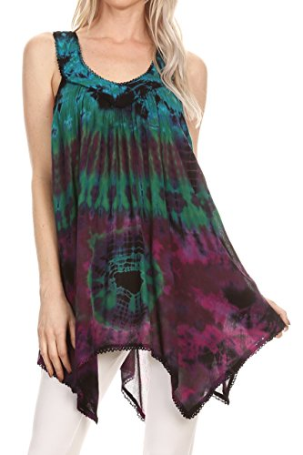 Sakkas 17790 - Nalu Sleeveless Relaxed Fit Multi Color Tie Dye V-Neck Blouse | Cover Up - Green - ()