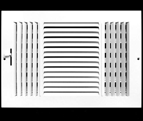 10 x 8 3-WAY SUPPLY GRILLE - DUCT COVER & DIFUSER - Flat Stamped Face - White