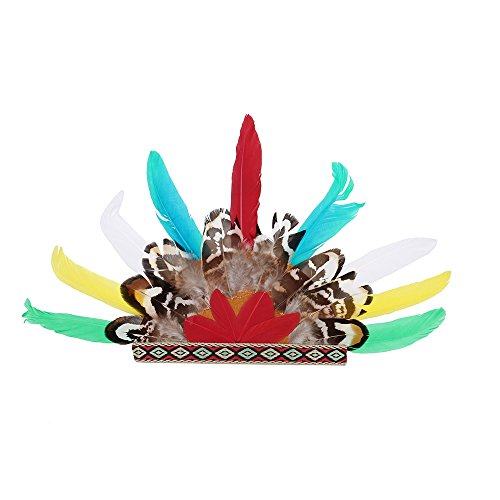 - OOEOO Pet Puppy Hat, Indians Feather Headdress Hat Dog Costume Festival Cosplay