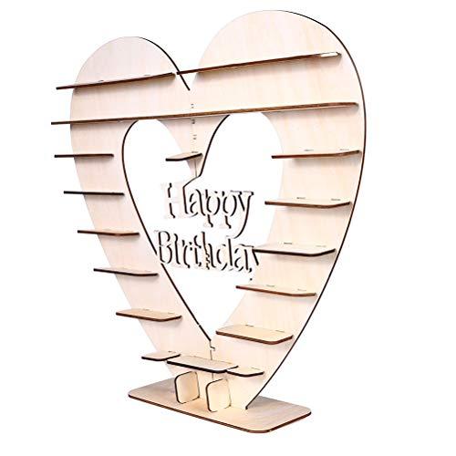 Amosfun Happy Birthday Wooden Chocolate Stand DIY Heart Tree Display Stand Wedding Birthday Table Decoration Centerpiece ()