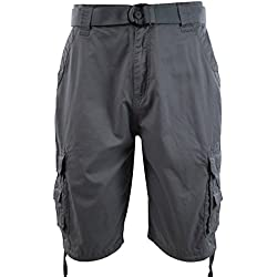 Mens Cargo Shorts with Belt (36, 202-Grey)
