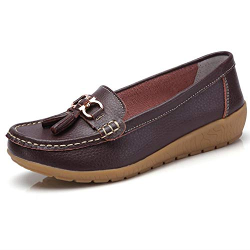 (Women Loafers Leather Oxford Slip On Walking Flats Anti-Skid Boat Shoes (8.5 B (M) US, V-Dark Brown))