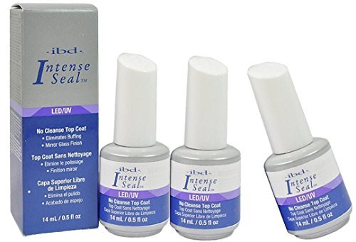 Ibd LED/UV No Cleanse Top Coat Eliminates Buffing Mirror Glass Finish.- Size 0.5 Fl.oz / 14ml (Pack of 3) ()