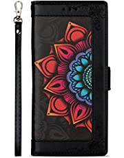 Miagon PU Leather Flip Case for Samsung Galaxy A40,Wallet Cover Flower Design Full Body Protection Bumper with Stand Credit Card Holders Hand Strap,Black