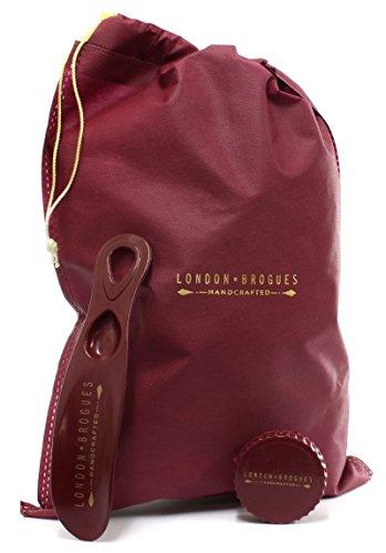 London Brogues Farnham Bordo / Vita Mens Läder Brogues, Storlek 12