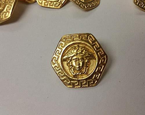 Medusa Head Hexagon Button Matte Gold 6
