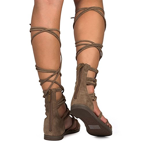 Breckelles Dg23 Sandalo Donna Sandalo In Pelle Scamosciata Annodata In Pelle Scamosciata