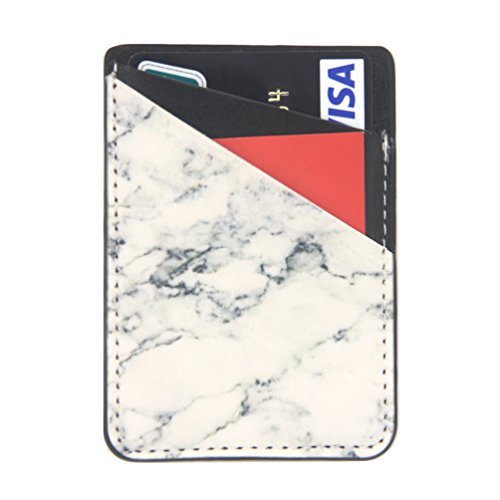 Ultra Slim Phone Card Holder-Self Adhesive Stick On Credit Card Wallet for Back of Phone (White Marble)