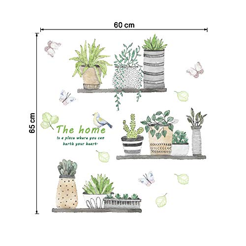 Green Plant Wall Decal Bonsai Flower Butterfly Cactus Wall Stickers DIY Mural Art Decoration for Living Room Bedroom… 7