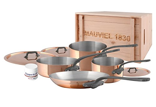 Mauviel MHeritage M150C2 6450.02WC- 7 Piece Copper Cookware Set with Crate Cast Stainless Steel Handle with Iron Color Finish
