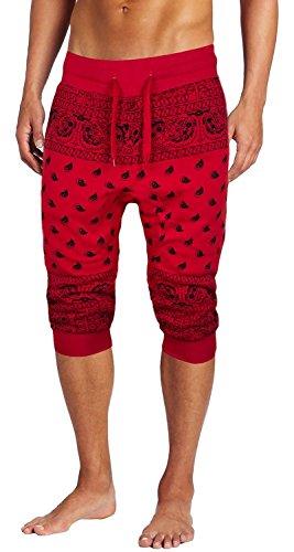 Mens Fleece Bandana Paisley Capri Joggers Drawstring Jogger Pants (M, Red)