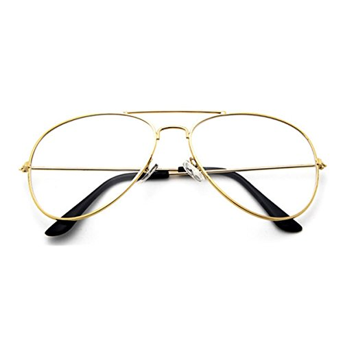 M.L.E. N.Y.C. Big Large Eye Non-Prescription Premium Women Fashion Clear Aviator Unisex Sunglasses Glasses Gold Metal Lens - Prescription Aviator Glasses Gold