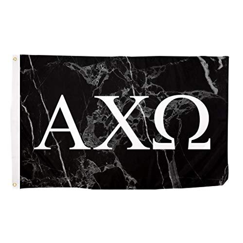 Alpha Chi Omega Dark Marble Sorority Letter Flag Banner 3 x