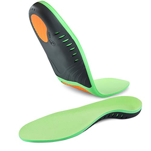 Hyperspace Sports Insole Medical Grade Plantar Fasciitis Inserts Arch Support Shoe Inserts Professional Orthotic Inserts Doctor Recommends for Plantar Fasciitis High Arch Support Flat Insoles.Green S