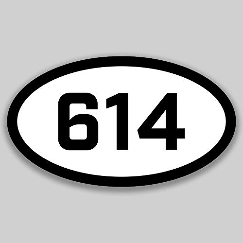 614 Area Code Sticker Ohio Columbus Dublin Gahanna City Pride Love | 5-Inches by 3-Inches | Premium Quality Vinyl UV Resistant Laminate PD2274