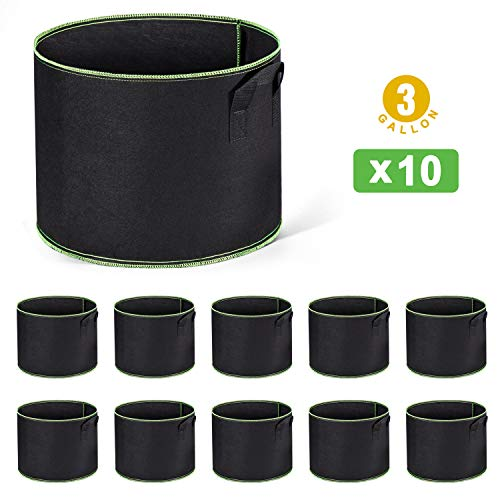 (Delxo 10-Pack 3 Gallon Grow Bags Heavy Duty Aeration Fabric Pots Thickened Nonwoven Fabric Pots Plant Grow Bags with Handles)