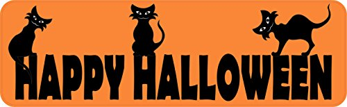 10in x 3in Orange Happy Halloween Magnet Magnetic Holiday Bumper Magnets by (Happy Halloween Backgrounds For Iphone)