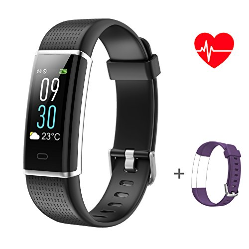 ABOX HR Fitness Tracker,Heart Rate Sleep Monitor, Color Screen Fitness Wristband Bracelet, IP68 Waterproof Smart Watch Steps Counter and Call/SMS Reminder for Kids/Women/Men (with Replacement Band)