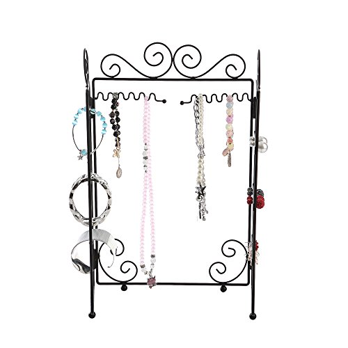 Black metal jewelry stand is sturdy, pretty and well made