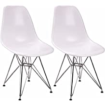 OCC Set of Two (2) White - Eames Style Side Chair with Chromed Steel Legs Eiffel Dining Room Chair - Lounge Chair with No Arm Arms Armless Chairs Seats Metal Dowel Leg - Eiffel Legged Base Molded Plastic Seat Shell Top-Paris Tower Side Chair Chrome Leg-Paris Tower Side Chair Chrome Leg
