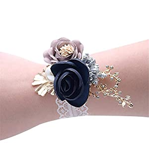 Florashop Wrist Corsage 2 Pcs Set Satin Rose Camellia Wedding Bridal Corsage Bridesmaid Wrist Flower Corsage Flowers Wristband for Wedding Prom Party Homecoming Graduation Dancing (Navy) 32