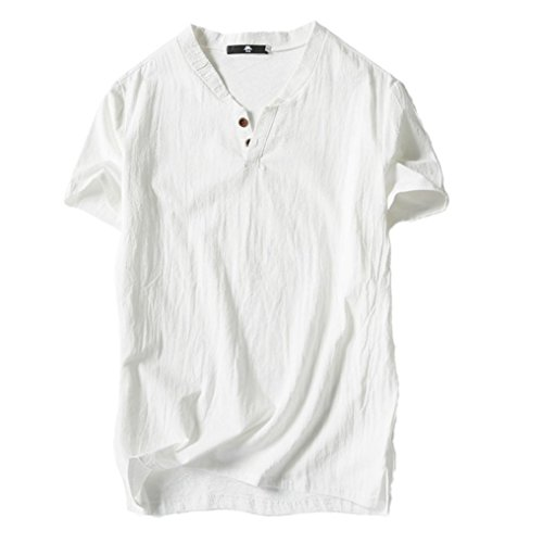 Oksale Men's Summer Casual Linen and Cotton Short Sleeve V-Neck T-Shirt Top Blouse Tee