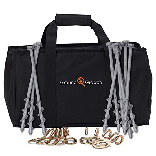 (GroundGrabba Playa Pack Screw-In Tent Stakes Anchor, Heavy Duty 10 1ft Galvanized, with 3/4