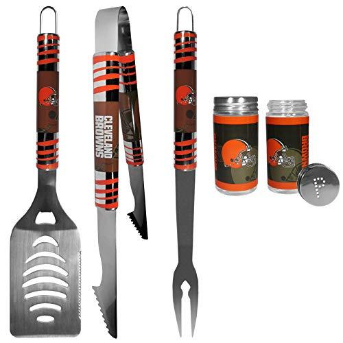 (NFL Cleveland Browns 3 pc Tailgater BBQ Set & Salt & Pepper Shaker Set )