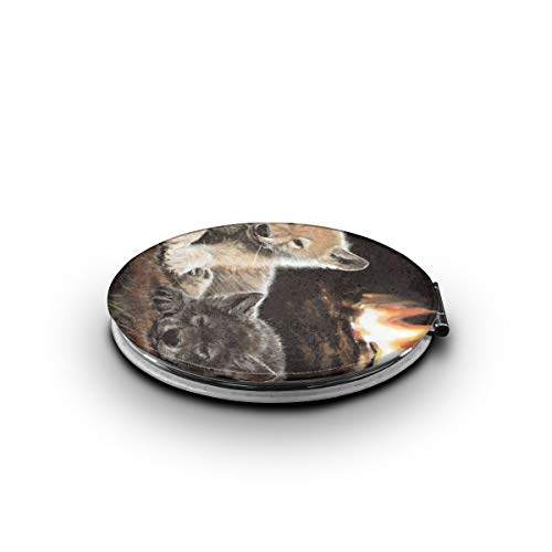 HEPKL Makeup Mirror Wolf Cubs at Fire Place Mini Compact Mirror Travel Double Sided Magnification Portable Folding Cosmetic Mirrors (Fireplace High Definition)