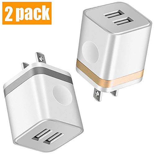 KEAIO USB Wall Charger, [UL Certified] 2-Pack 2.1A/5V USB Plug Dual Port Power Adapter Charging Block Charger Cube Compatible with Phone X/8/7/6/6S Plus, X Xs Max XR, Pad, Samsung, Android, and More