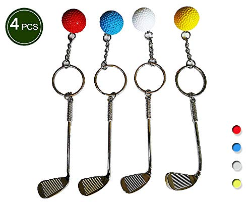 Golf clubs and Golfball Model Keychain Mini Fashion Sports Keyring Ring Key -4 Pack -