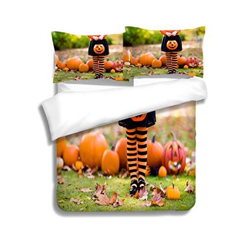 MTSJTliangwan Duvet Cover Set Little Girl in Witch Costume on Halloween Trick or Treat 3 Piece Bedding Set with Pillow Shams, Queen/Full, Dark Orange White Teal Coral