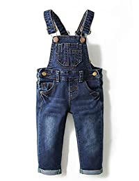 Kidscool Baby & Toddler Adjustable Deep Blue Washed Jeans Overalls