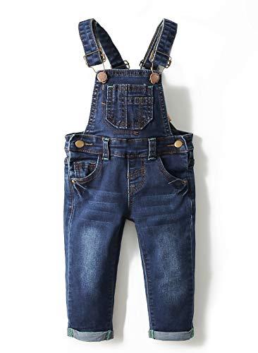 Kidscool Baby & Toddler Adjustable Deep Blue Washed Jeans Overalls,Blue,12-18 Months