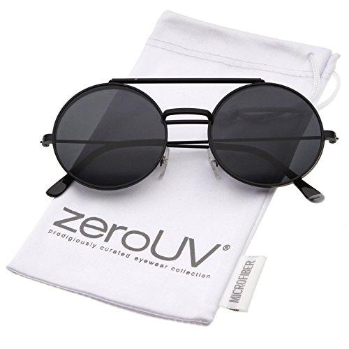 zeroUV - Mid Size Flip-Up Neutral-Colored Lens Round Django Sunglasses 49mm (Black / - Up Lens Sunglasses Flip