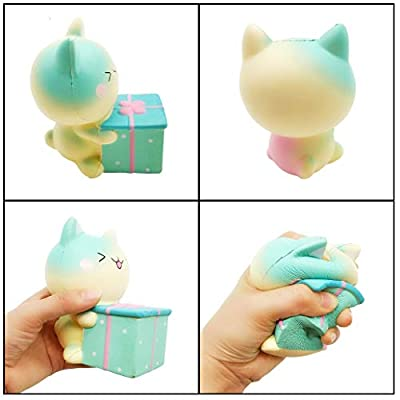 Ouflow 5Pcs Slow Rising Jumbo Squishies Pack Include Kawaii Unicorn Cake,Ice Cream Cat,Panda,Pink Dog,Gift Cat Soft Novelty Squishy Toys Party Favors: Toys & Games
