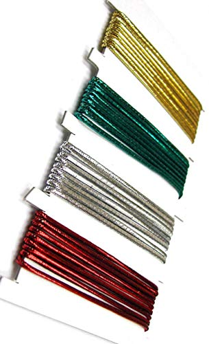 Linpeng Elastic Cord For Beading, Jewelry Making, Scrapbook making, Gift Wrapping - Red Green Gold Silver-2mm- Length 1 Yard Per Each Color - 4 colors per card