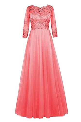 Braut Bodenlang Marie Abendkleider Kleider Brautjungfernkleider La Spitze Damen Jugendweihe Wassermelon Promkleider OURww5xq