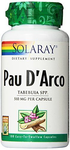 Inner Bark 100 Capsules - Solaray Pau D'arco Inner Bark Capsules, 510 mg, 100 Count by Solaray