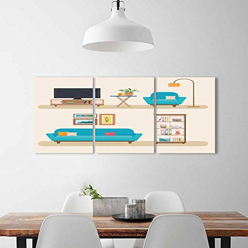 Flat Panel Tv Mirror - PRUNUS 3 Panel Wall Art Set Frameless Living Room Furniture Cozy Interior Sofa tv Flat The Kitchen, Dining Room, Living Room, Bar so on