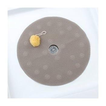 Comfort Foam Shower Mat with Center Drain Hole - Tan