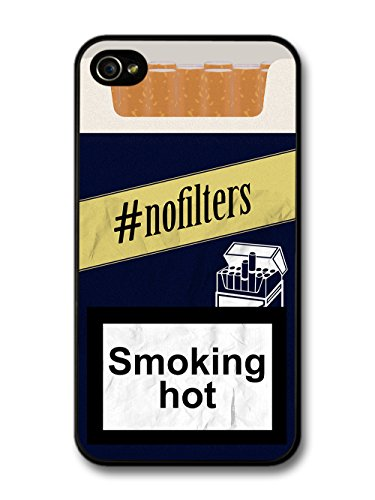 Funny Cool No Filter Fake Cigarette Box Design with Smoking Hot Quote case for iPhone 4 4S